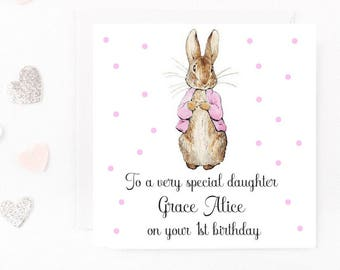 Personalised Birthday Card, Peter Rabbit Birthday Card, Baby Girl Birthday Card, Beatrix Potter Card, Daughter, Niece, Any Age Name Wording