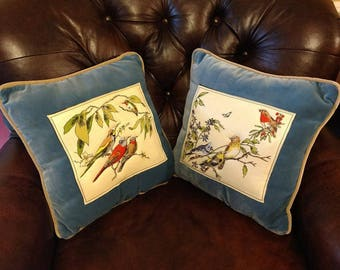 Throw Pillows // Decorative // Songbird // Stitched // blue