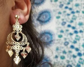 Solid 14k gold earrings filigree