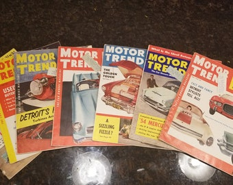 Set of 7 1954 Motor Trend Magazines