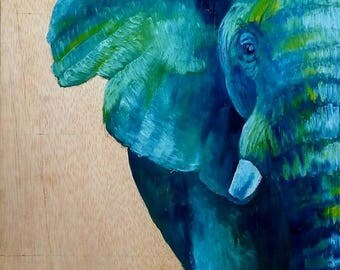 Elephant in cold colors