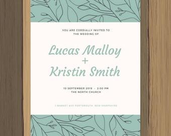 5x7 Green Floral Custom Wedding Invitation