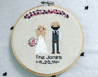 Wedding Cross Stitch People Family Portrait 2nd Anniversary Statement Gift for Wife Cotton Custom Portrait Personalized Wedding Gift Custom