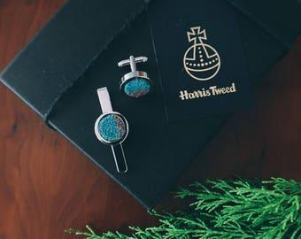 Sky Blue Harris Tweed Cufflink and Tie Clip Set