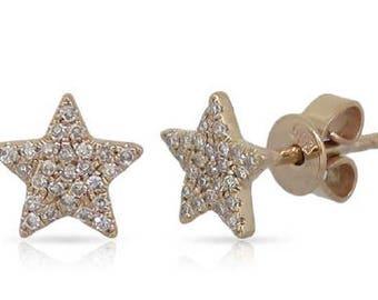 Star Shaped Crawlers Small Diamond Stud Earrings 14k Gold - 0.13 Ct.
