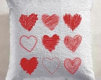 Hearts Mermaid Sequin Pillow
