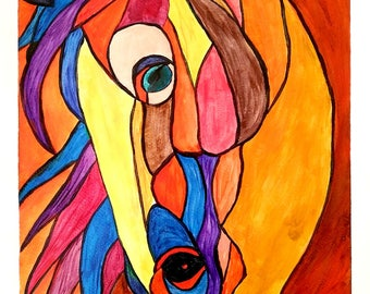 BEAUTIFUL HORSE - Acrylic on Paper - 9in x 12in (22.86cm x 30.48cm) - Animal Abstract Art Original Painting by LeslieA.