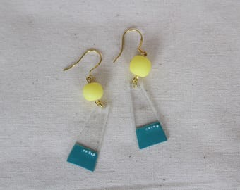 Handmade Dangle earrings, Polymer Clay earrings, Hand Painted earrings, Colourful earrings, Clear earrings, Shrink Plastic earrings
