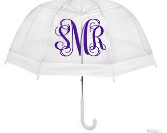 """46"""" Adult Sized Monogrammed Bubble Domed Clear Umbrella"""