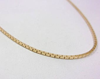 "Solid 14K Yellow Gold 18"" 1.1mm Box Link Chain Necklace, 5.3 grams"