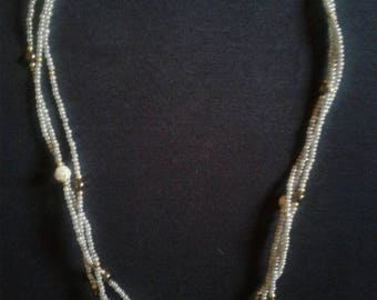 Grey pearl triple strand necklace