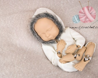 Newborn Romper, Newborn Hooded Romper, Faux Fur Hoodie, Romper with Fur Trimmed Hood, Baby Boy Photo Prop, Unisex Photo Prop, Baby Girl Prop