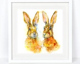 Talking Headz - Limited Edition Hare Print, Wildlife Print. Printed from an Original Sheila Gill Watercolour. Fine Art, Giclee Print