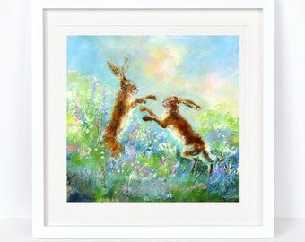 Hares in Action - Limited Edition Print from an Original Sheila Gill Watercolour. Fine Art, Giclee Print, Hand Painted, Home Decor
