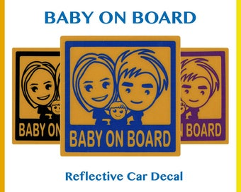 Baby On Board Reflective Car Decal - Baby On Board Decal - Car Sticker - Baby On Board - Baby On Board Sticker