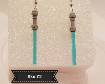 Sku Z2 - Lego Star Wars Jedi Lightsaber Earrings