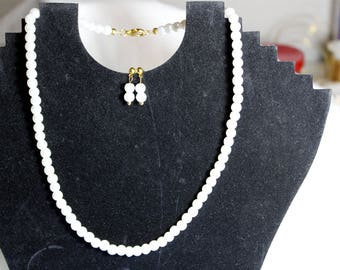 Swarovski white glass pearl strand, 18in on gold plate. Necklace and earring set. Unique, One of a kind, Jewelry.