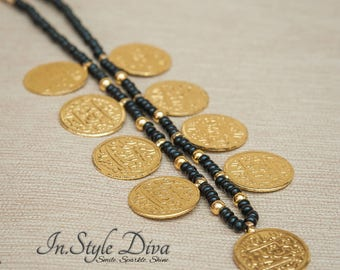 Gold coin Necklace, Arabic coin Necklace, Gold plated disc Necklace, Everyday Jewelry, Dainty Necklace, Beaded jewelry, Black Bead