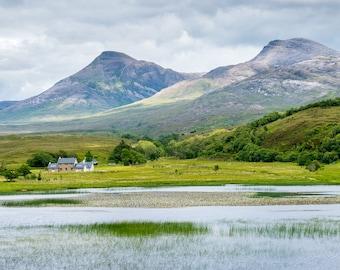 Scotland Photography Print, Highlands, lake, scottish, landscape, panorama, hills, mountains, island, loch, travel, orizzontal, cottage