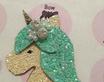 Glitter Aqua and white fairytale Unicorn head hair  clip, birthday hair, party hair