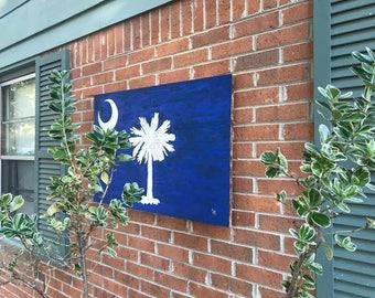 Wall Art, Wall Decor, Wood Signs, Wood Wall Art, Wooden Signs, Rustic Wall Decor, Palmetto State Flag, South Carolina, Palmetto Flag