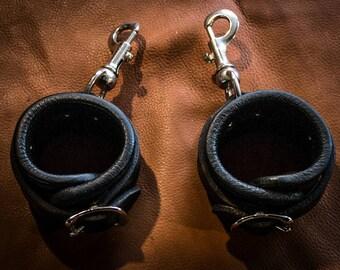 Handcuffs, fetish cuffs, Bdsm, leather handcuffs, deer leather interior, Bondage