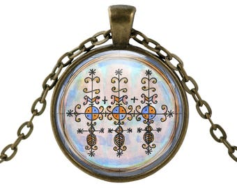 "Marassa Twins Veve Lwa for Abundance Blessings Family Voodoo Glass Talisman Necklace Pendant in 1"" Round  2"" Huge Oval"