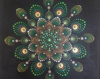 Mandala Dot Painting Acrylic Unique Hand-made on Canvas