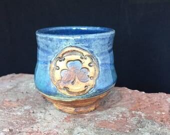 Shamrock Shot Glass, 044, Free Shipping , Irish Shot Glass, Ceramic, St Patricks Day, Handmade Shot Glass