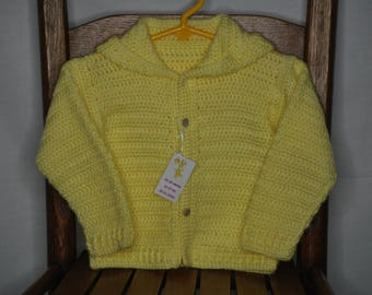 Sunny and Bright Yellow Crochet baby sweater w/hood  12-18 months