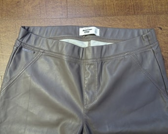 Faux Leather taupe pants by aberocrombie &fitch