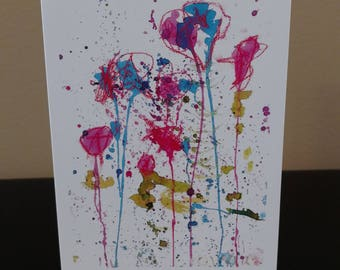 """Olivia painting 5 years old Blank Notecard 5.5x4.25"""""""
