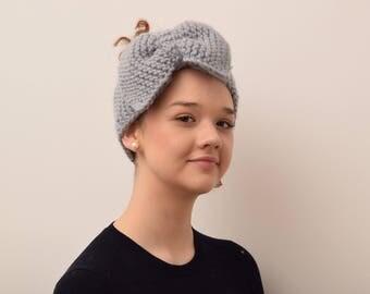 "Handmade, merino wool, hand knitted turban with ""butterfly"", warm headgear, winter coarse, hand fashion, wool, soft ladies coin"