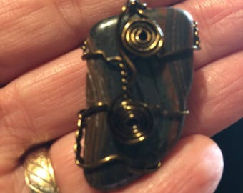 Polychroe Jasper Wire Wrapped Pendant