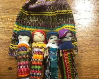 Worry Dolls 4 in a Guatemalan fabric bag Large size