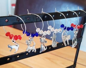 Cat Wine Glass Charms set of 6
