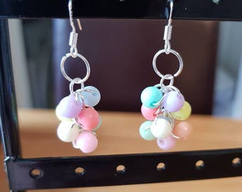 Pastel Bead Cluster Earrings