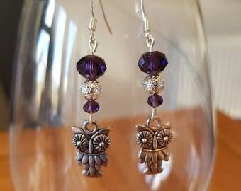 Purple glass bead owl earrings