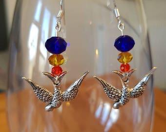 Glass Bead Bird Drop Earrings