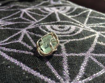 Sterling silver green calcite mini wire wrap.