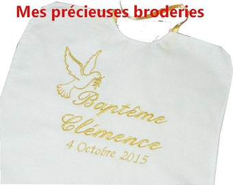 Embroidered christening bib personalized name date Dove