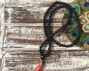 Mala necklace, Japa mala, obsidian necklace, black necklace, men's necklace, 108 grain necklace, spiritual necklace, energy necklace