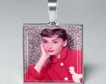 Audrey Hepburn actress glass tile pendant necklace jewelry