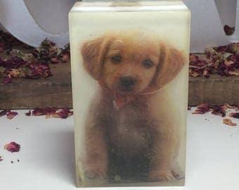 Handmade organic soap, picture soap, design soap, cute puppy image bar soap