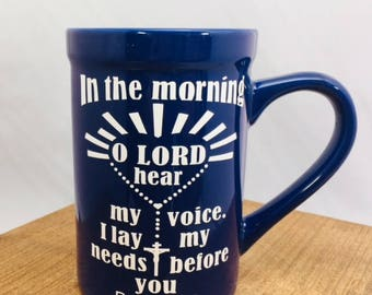 16 oz Scripture Verse Blue Ceramic Mug