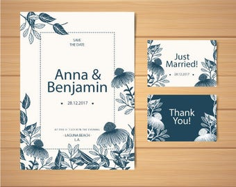 Classic & Elegant Wedding Set: Save The Date + Thank you Cards