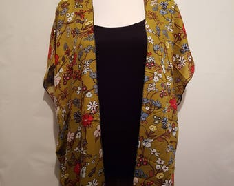 Handmade Chiffon Kimono - Mustard / Floral - Fits to Size 26 | Kimono Jacket | Kimono Top | Kimono Dress | Kimono Robe | Kimono Cardigan