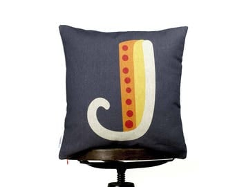 "Cushion Cover J monogram, Bright color pillow cover, 16x16"", Cotton cushion art cover, Dark grey bcg, Multi-Coloured, Child-safe printing."