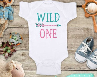 Wild One Teal and Pink design Arrow boho First Birthday Baby Bodysuit or Baby T-Shirt for Boy or Girl