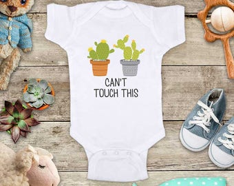 Can't touch this cactus succulents funny baby bodysuit baby shower gift - Made in America - cute birthday baby gift baby birth pregnancy
